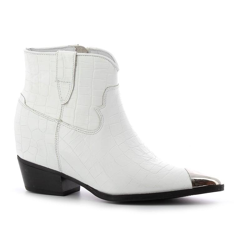 Białe skórzane kowbojki damskie CARINII--B5444-P12-000-000-D87