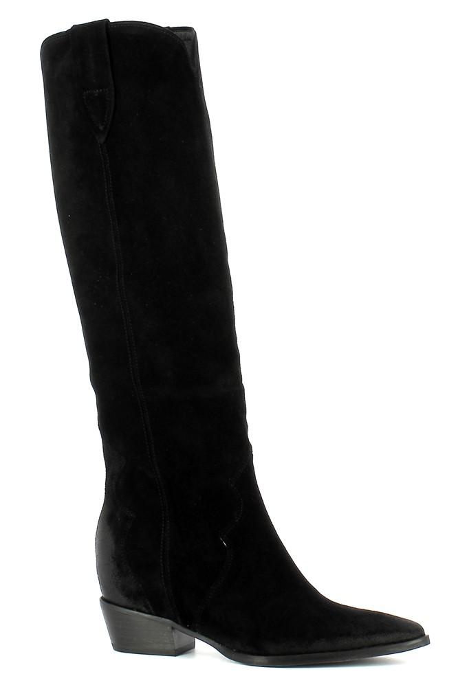 Czarne kowbojki zamszowe na niskim obcasie  CARINII--B5676-H20-000-000-D87