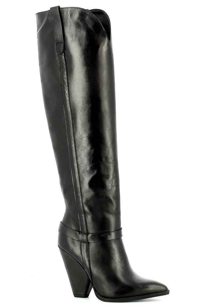 Czarne skórzane kozaki kowbojki damskie CARINII--B5878-E50-000-000-D88