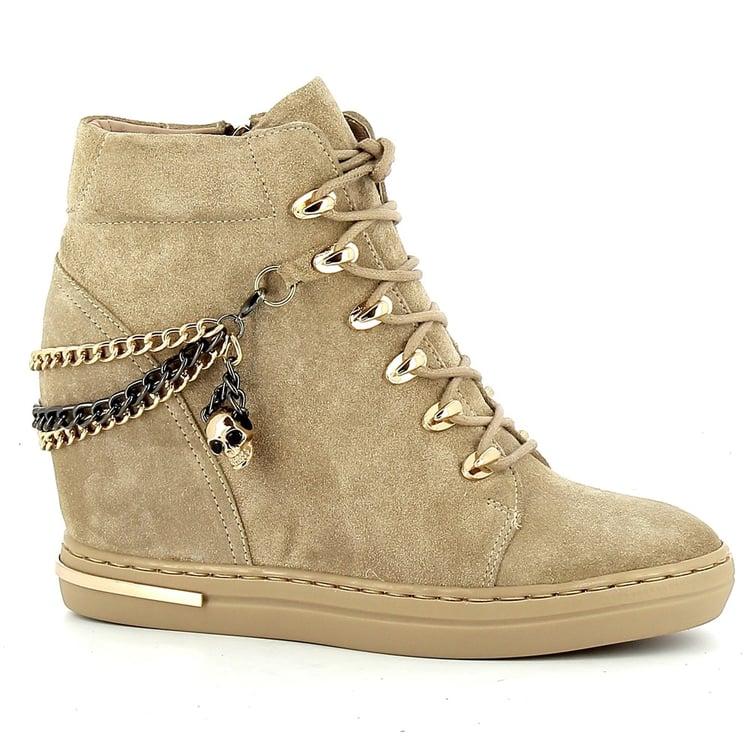 Beżowe sneakersy na koturnie CARINII--B5941-O17-000-000-B88