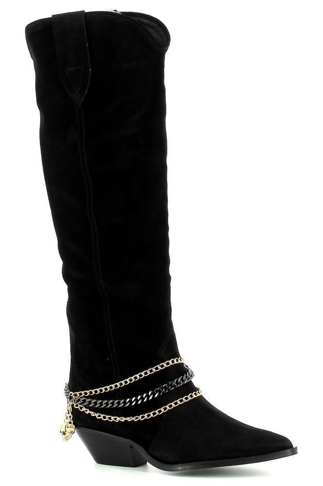 Czarne kowbojki zamszowe  CARINII--B7253-H20-000-000-E50
