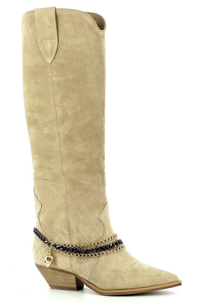 Beżowe kowbojki zamszowe z łańcuchem  CARINII--B7253-O17-000-000-E50