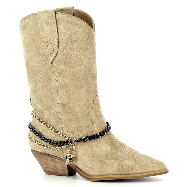Beżowe kowbojki krótkie  CARINII--B7258-O17-000-000-E50