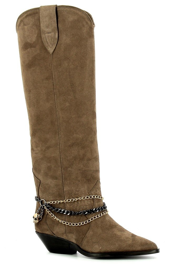 Brązowe kowbojki zamszowe  CARINII--B7253-O20-000-000-E50