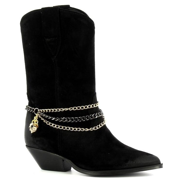 Czarne kowbojki krótkie  CARINII--B7258-H20-000-000-E50