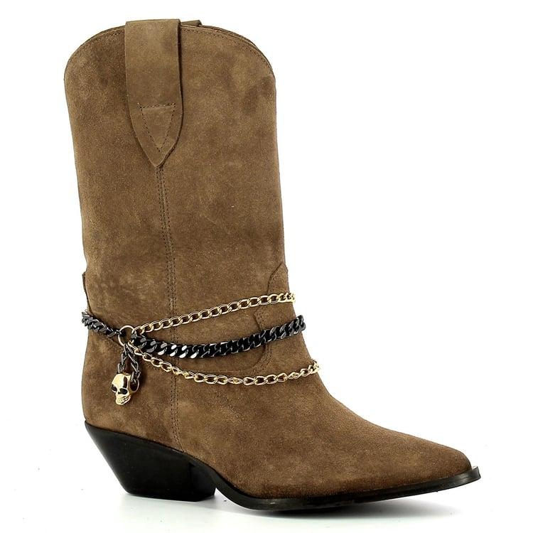Brązowe kowbojki krótkie  CARINII--B7258-O20-000-000-E50