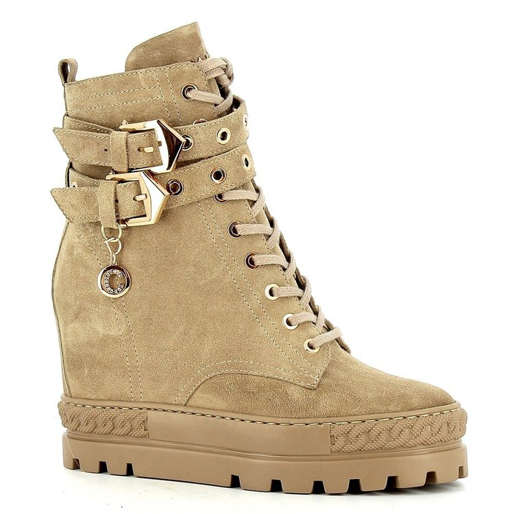 Beżowe zamszowe sneakersy na koturnie CARINII--B7277-O17-000-000-E39