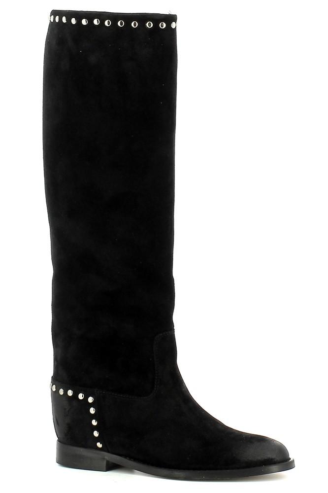 Czarne kozaki kowbojki damskie na koturnie CARINII--B7506-H20-000-000-E63