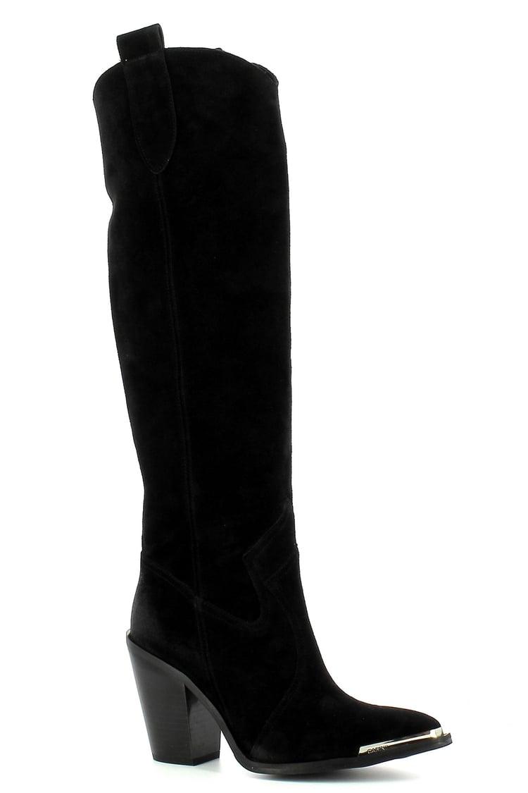 Czarne kowbojki zamszowe na obcasie  CARINII--B7594-H20-000-000-E72