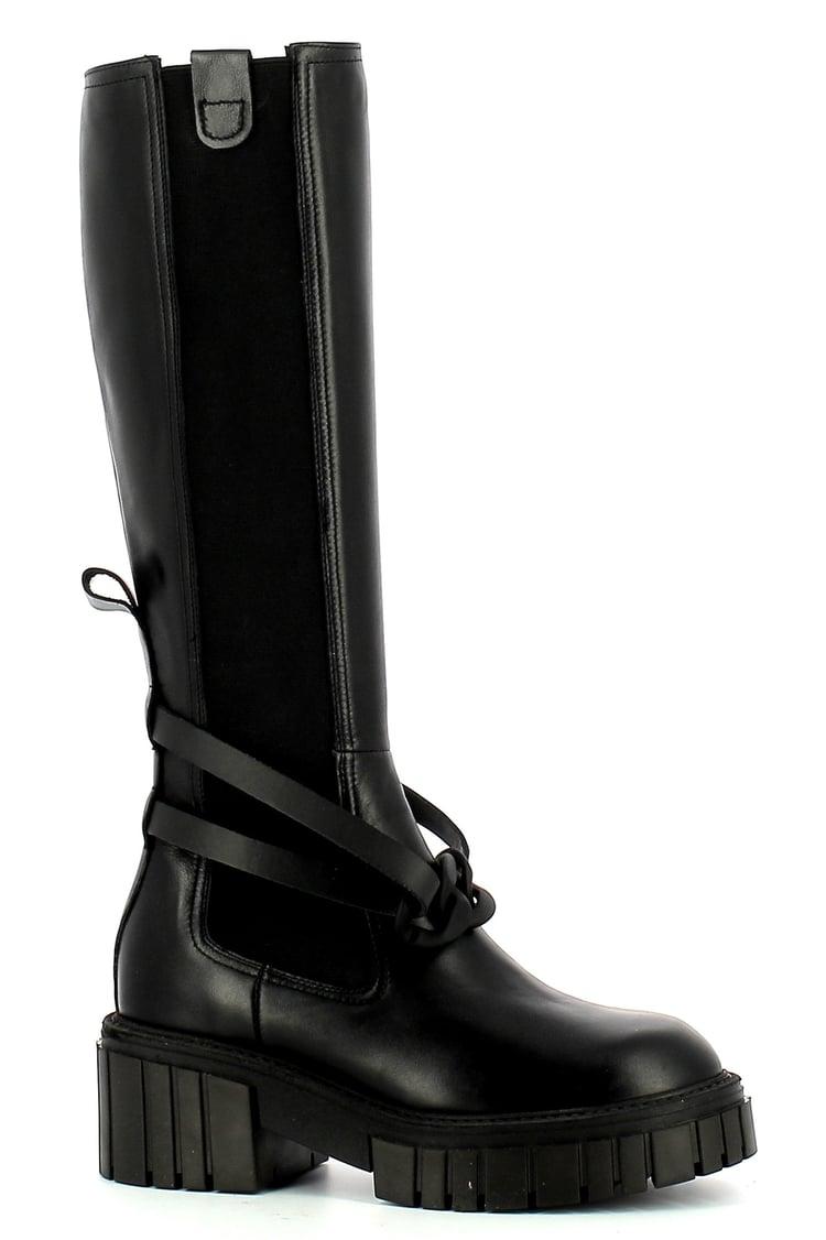 Czarne kozaki damskie CARINII--B7596-E50-000-000-E47