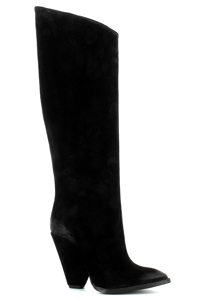 Czarne zamszowe kozaki kowbojki na słupku CARINII--B7676-H20-000-000-D88