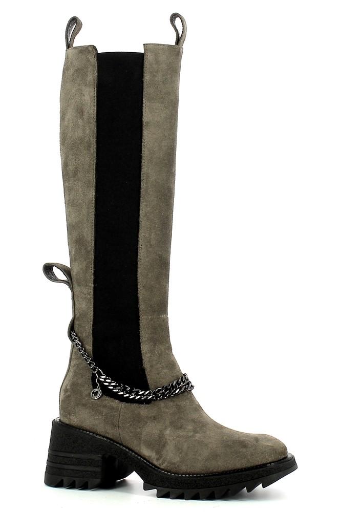 Szare zamszowe kozaki damskie na grubej podeszwie  CARINII--B7682-R86-000-000-E59