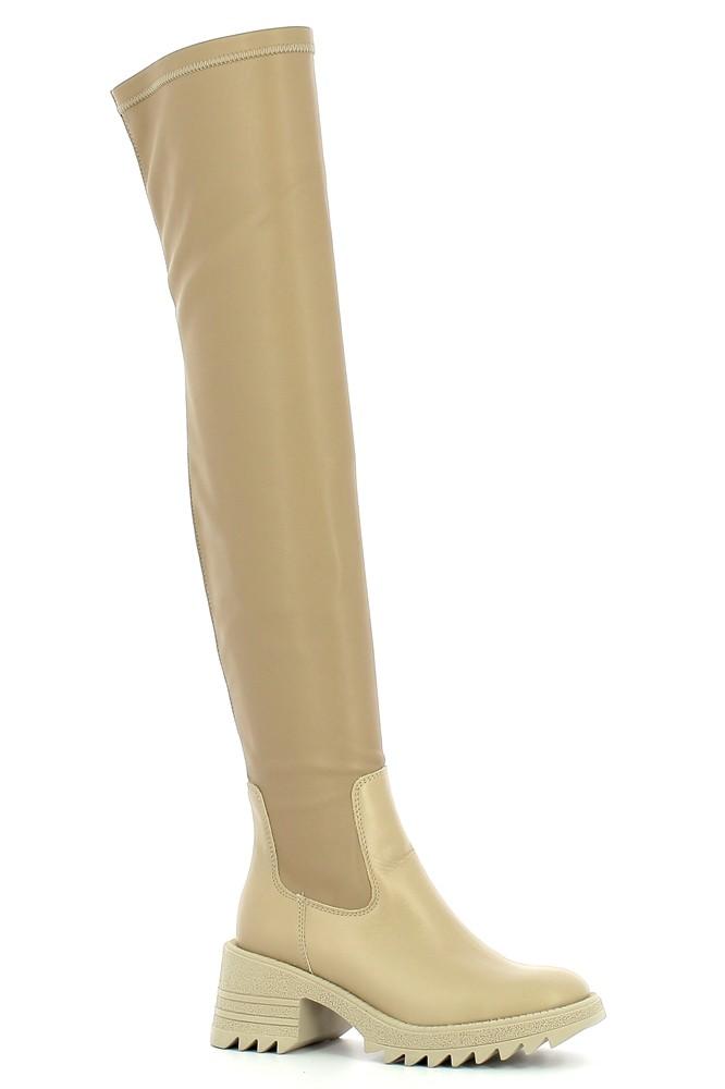 Beżowe muszkieterki damskie CARINII--B7683-R49-000-000-E59