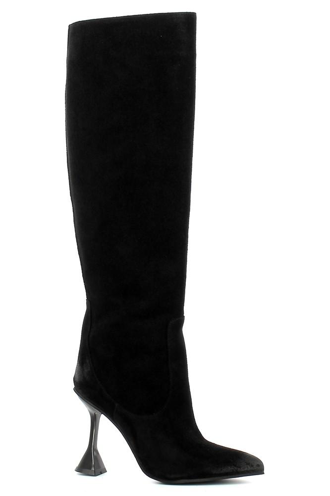 Czarne zamszowe kozaki na szpilce  CARINII--B7749-H20-000-000-000